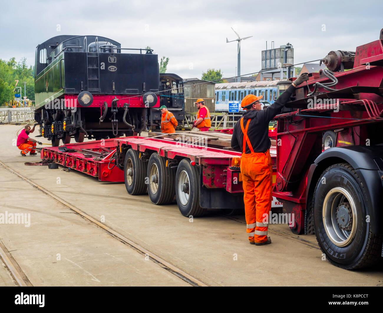 Shildon Co. Durham 20 September 2017:  Ex British Railways 2-6-0 steam locomotive 78018 was loaded on to road transport - Stock Image