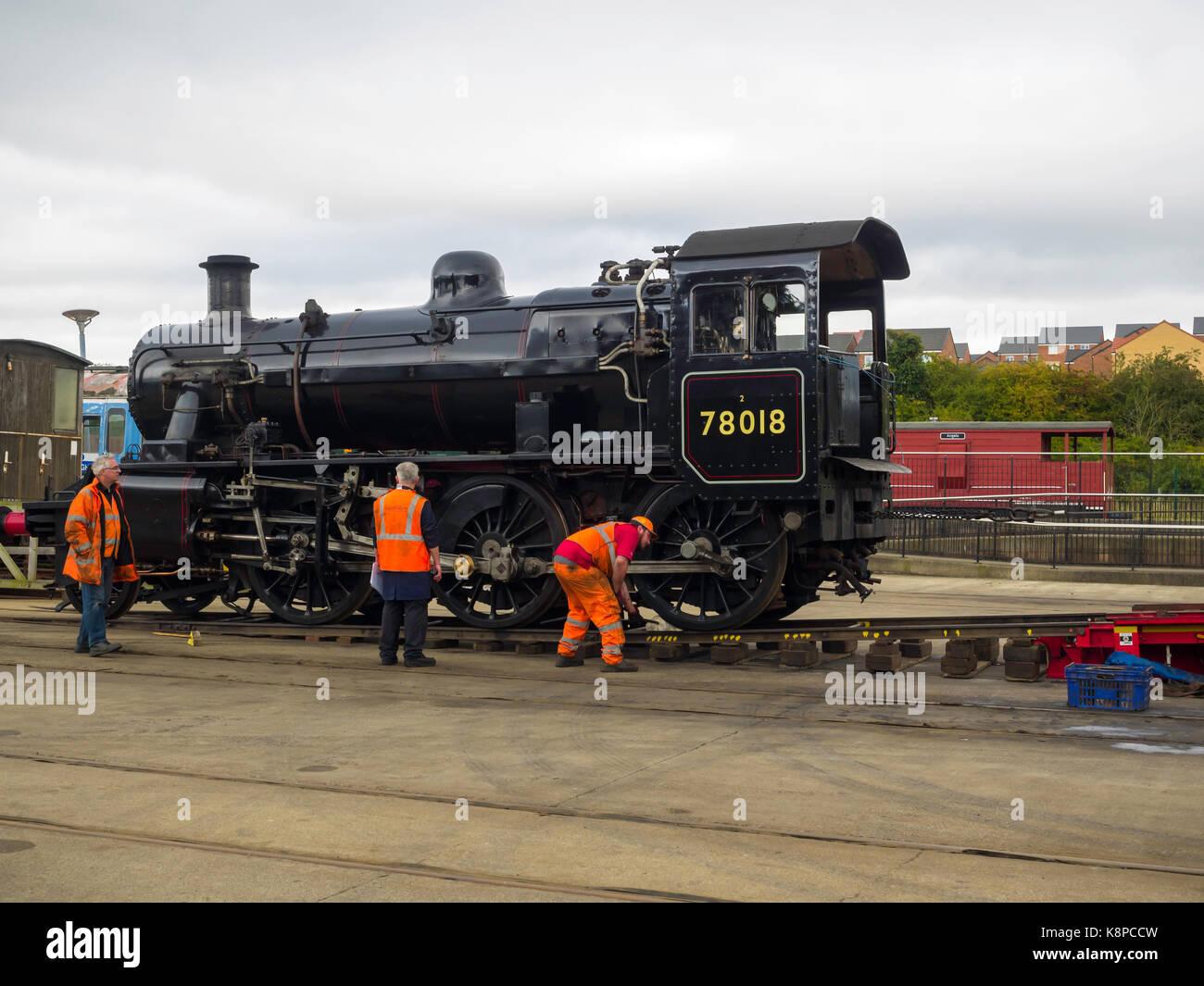 Shildon Co. Durham 20 September 2017:  Ex British Railways 2-6-0 steam locomotive 78018 was loaded on to road transport Stock Photo