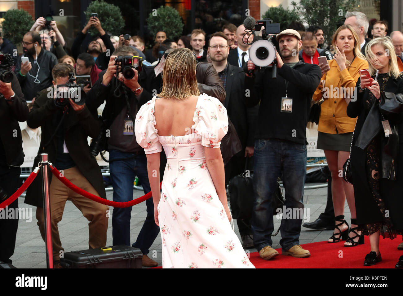 London, UK. 20th Sep, 2017. Margot Robbie, Goodbye Christopher Robin - World Premiere, Leicester Square, London - Stock Image