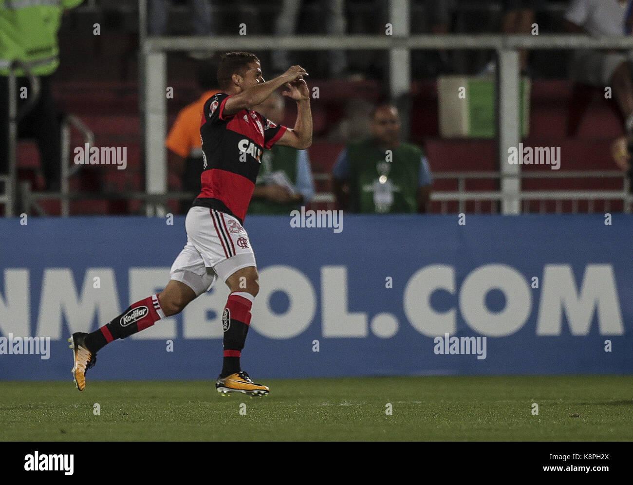 Flamengo's Gustavo Cuellar jubilates a goal during a Copa Sudamericana match between Flamengo and Chapecoense - Stock Image