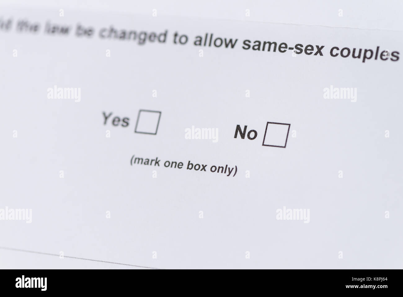 ballot of Australian Gay Marriage postal vote, with the 'no' vote in focus - Stock Image