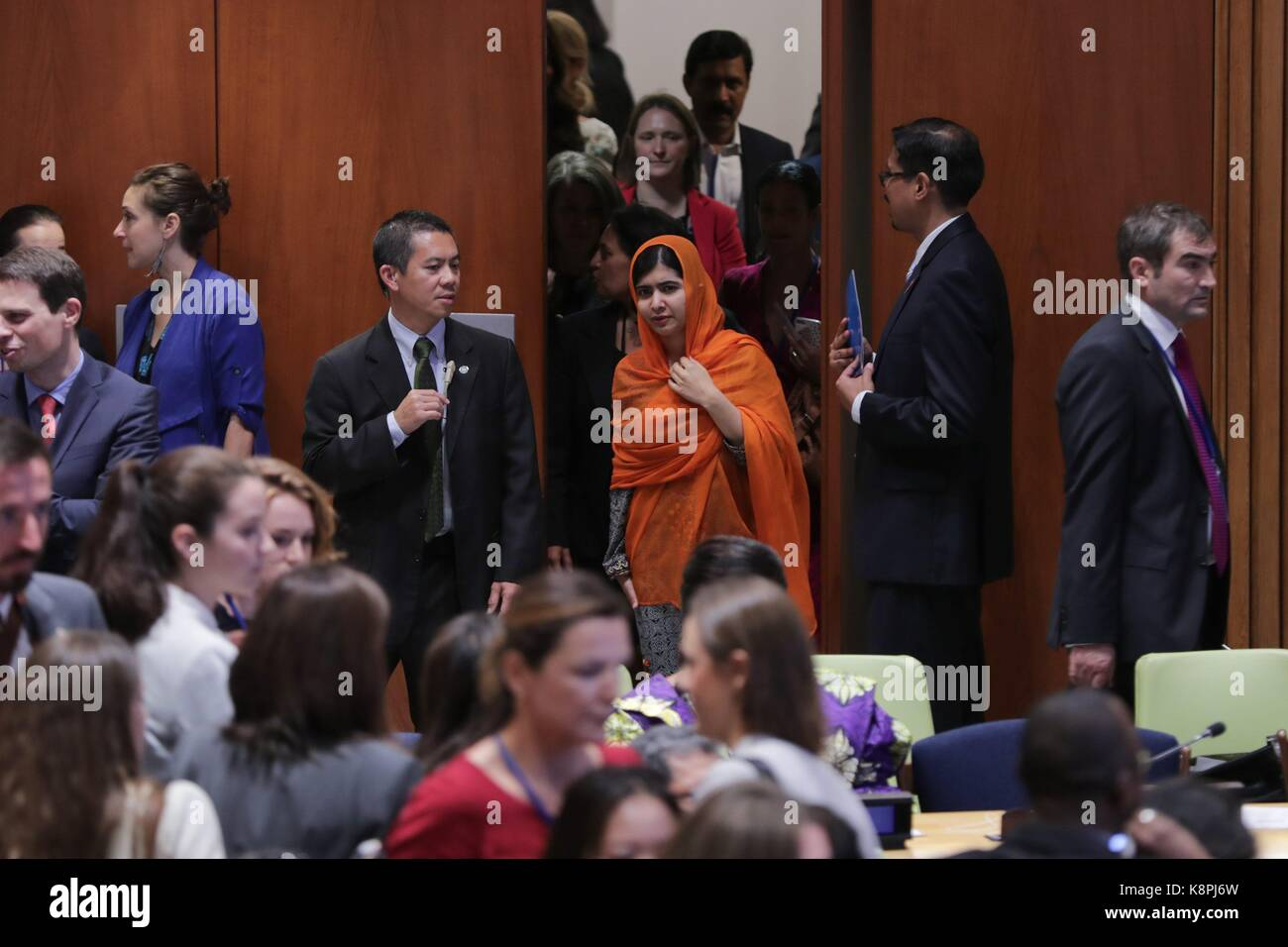 United Nations, New York, USA. 20th Sep, 2017. Malala Yousafzai, UN Messenger of Peace and Nobel Prize laureate, Stock Photo