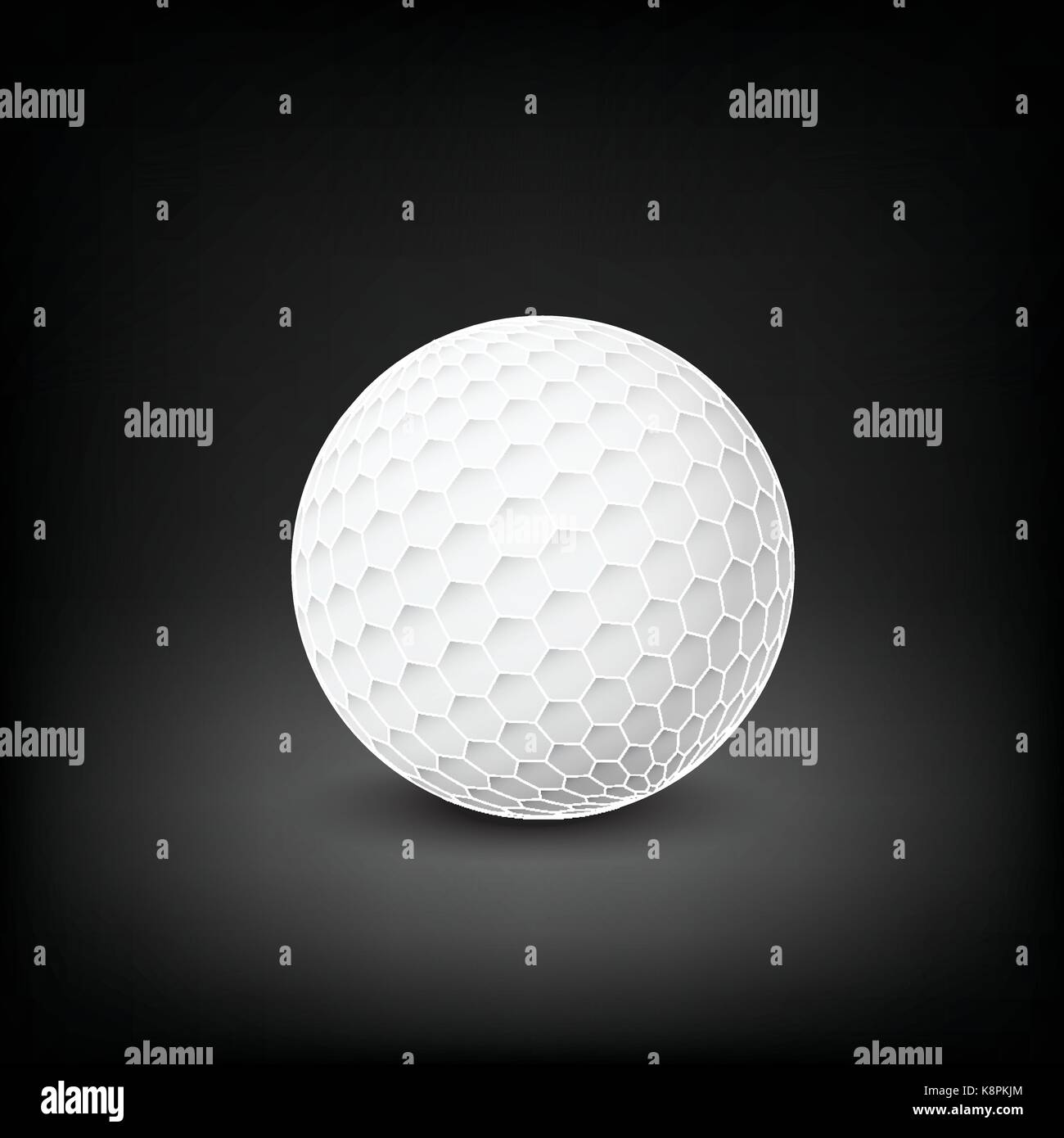 Golfball realistic vector. Image of single golf equipment, ball.  illustration isolated on dark mesh  background. - Stock Image