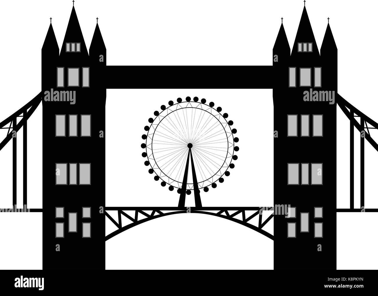 Image of cartoon Tower bridge and london eye  silhouette. Vector illustration isolated on white background. - Stock Vector