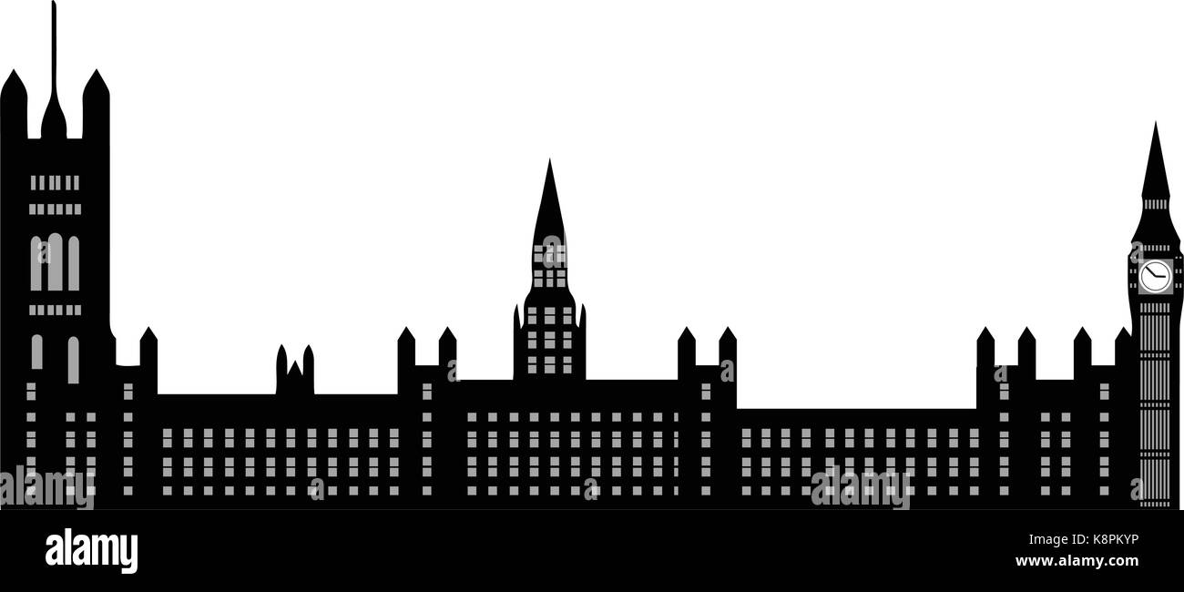 Image of cartoon Houses of Parliament and Big Ben silhouette. Vector illustration isolated on white background. - Stock Vector