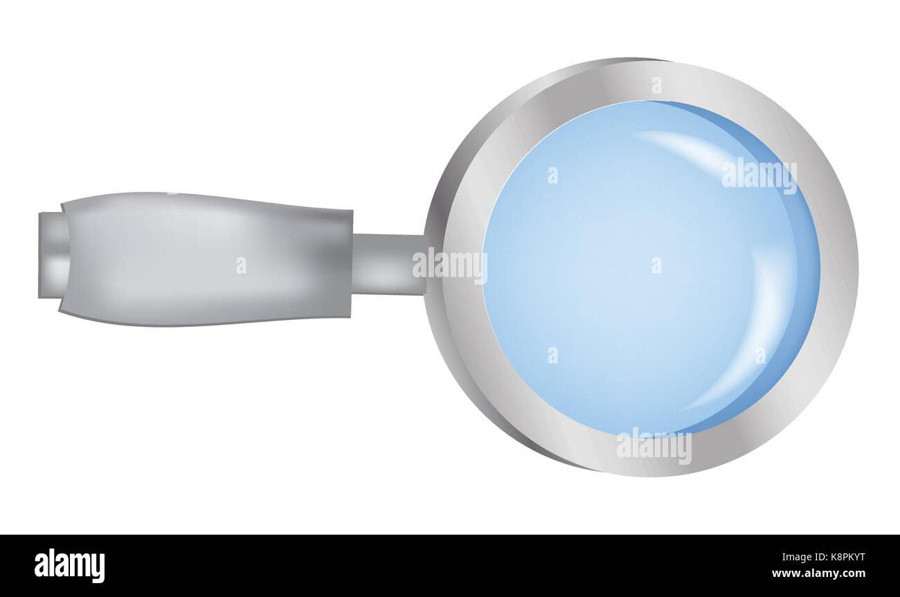 Image of realistic Magnifying glass, magnifier, detective attribute, searching item. Vector illustration isolated - Stock Image