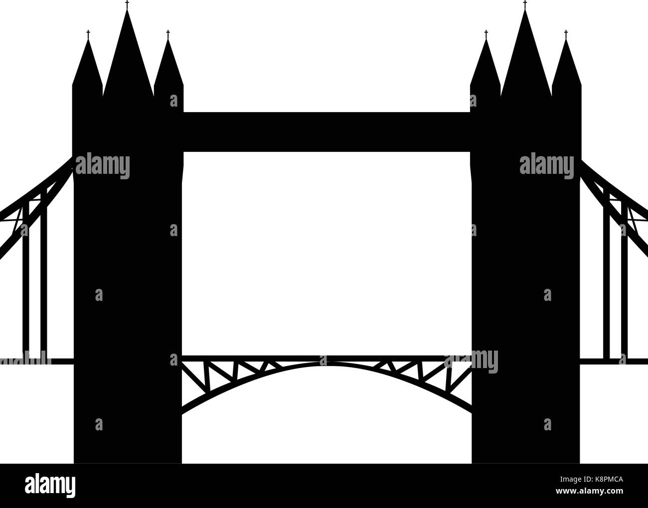 Image of cartoon Tower bridge silhouette. Vector illustration isolated on white background. - Stock Vector