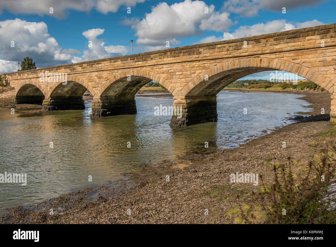 Northumberland coast, the Duchess Bridge over the river Aln, Alnmouth, UK September 2017 - Stock Image