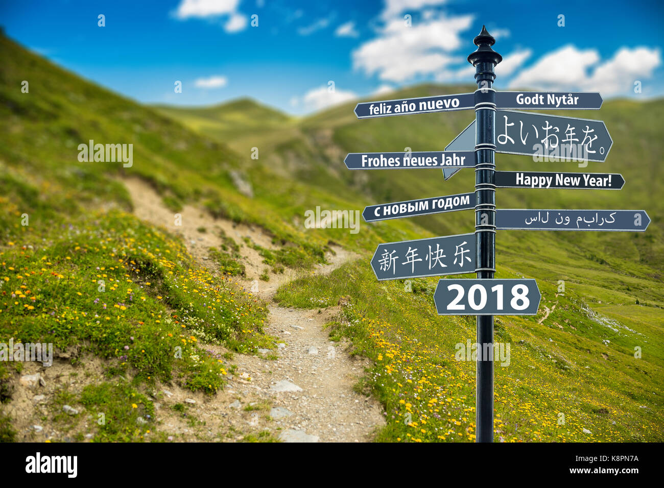 Signpost whit Happy New Year in many languages, Path to mountain in background - Stock Image