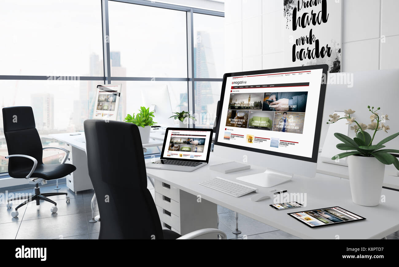 office desktop 3d rendering with e-magazine on screen - Stock Image