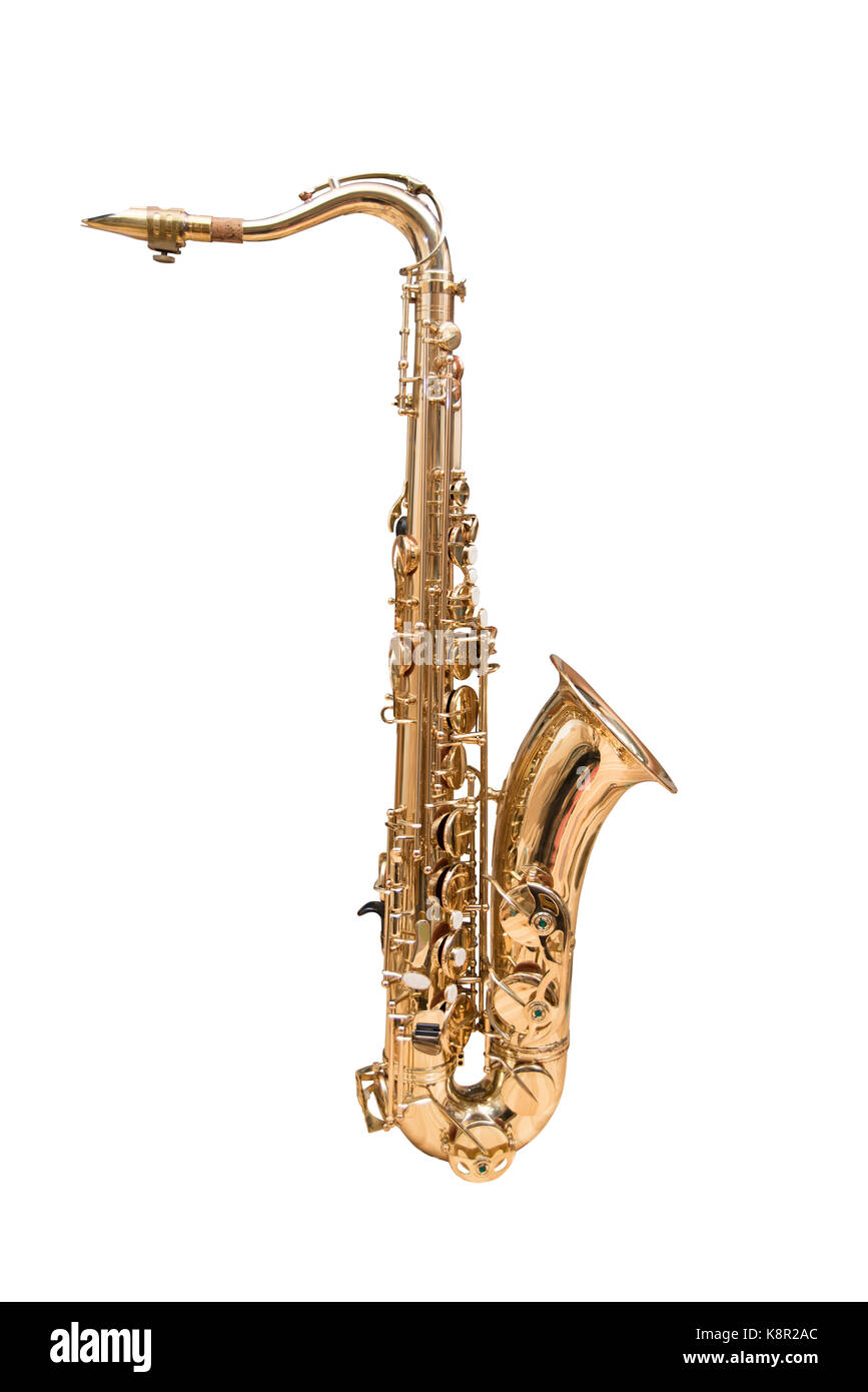 Tenor Saxophone isolated on a white background. - Stock Image