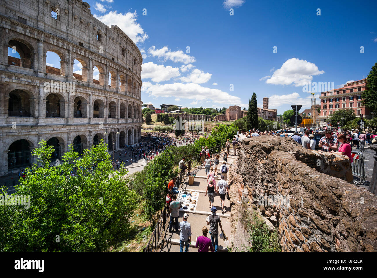 Rome. Italy. Crowds of people visiting the Colosseum. - Stock Image