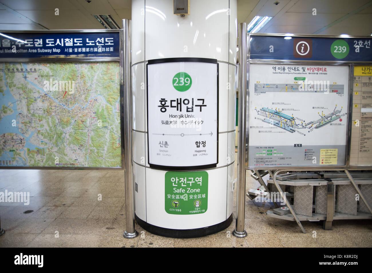 Subway Map Sign.Hongdae Hongik University Subway Station Sign Seoul Metropolitan