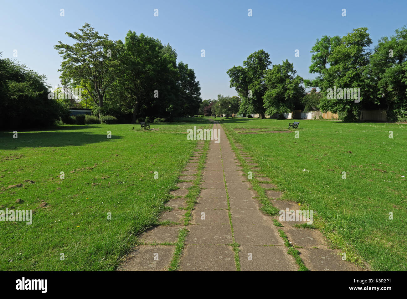 grass and path that are built on top of the New River  Wood Green, Haringey, London     May - Stock Image