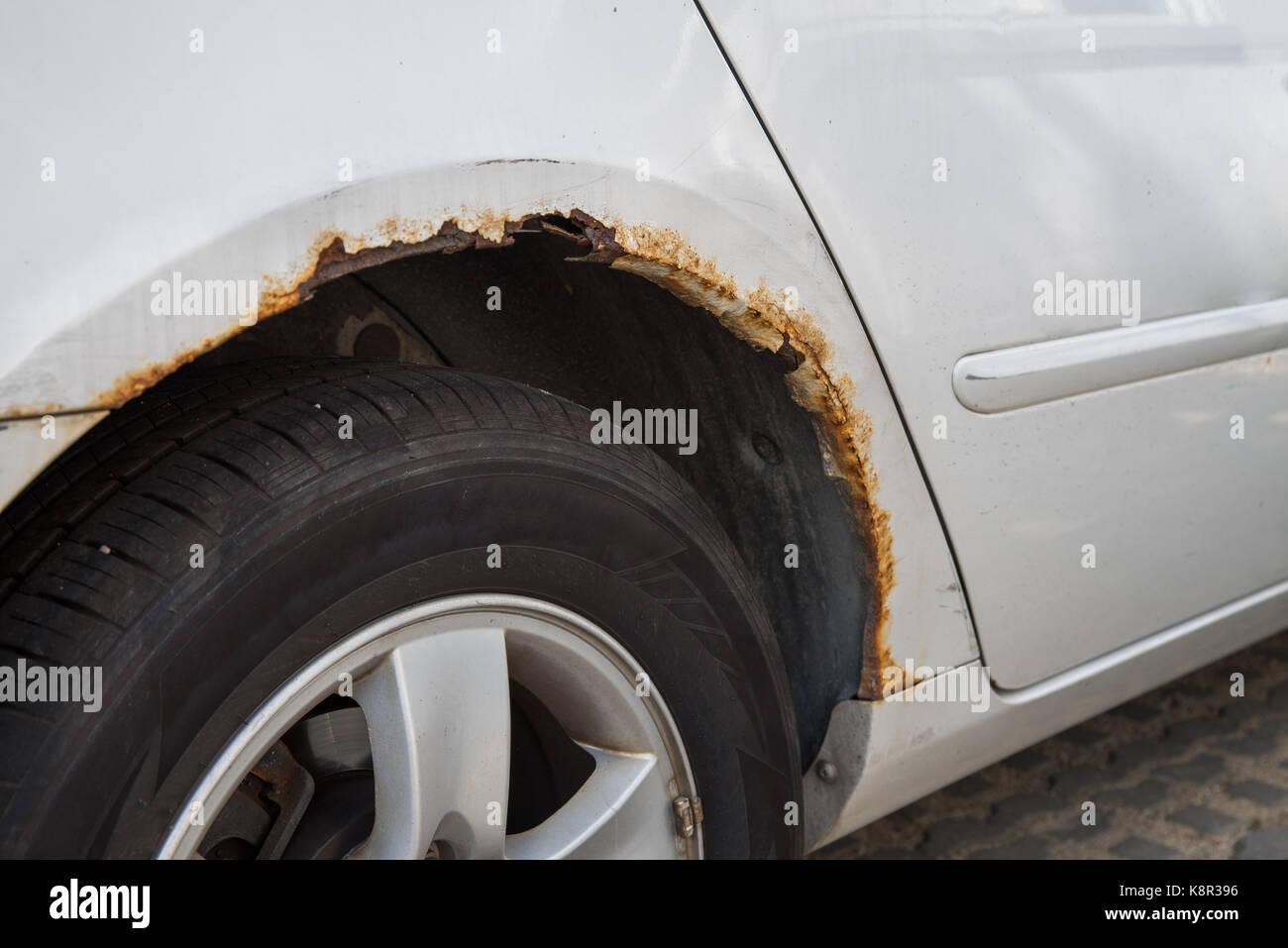 Rusty car wing. Stock Photo