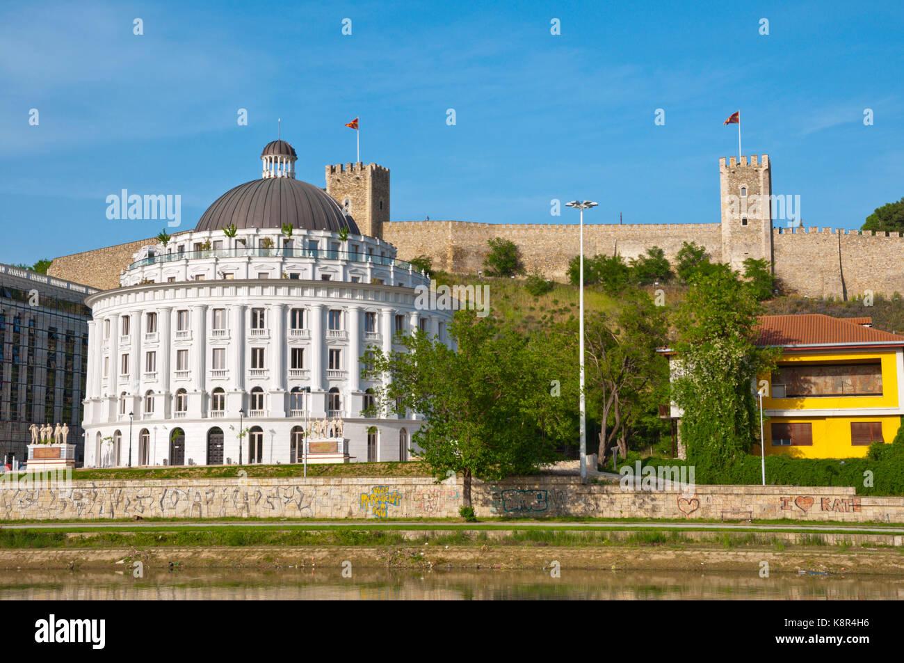 Water Management Building, part of Skopje 2014 project, below Kale fortress, Skopje, Macedonia - Stock Image