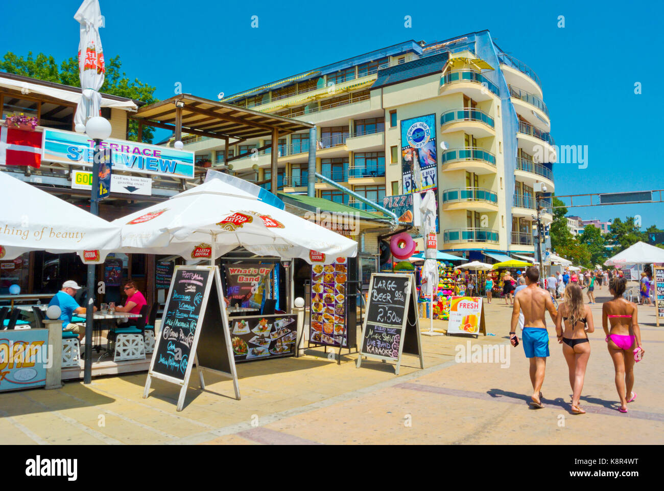 Flower Street, Sunny Beach, Bulgaria Stock Photo