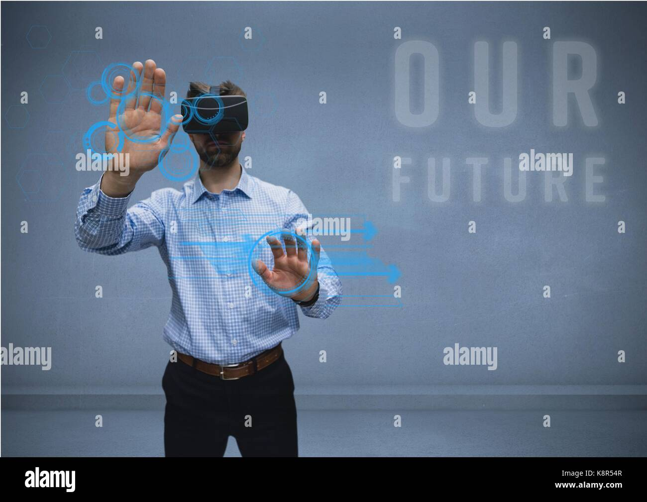 Digital composite of man in shirt with vr future Stock Photo