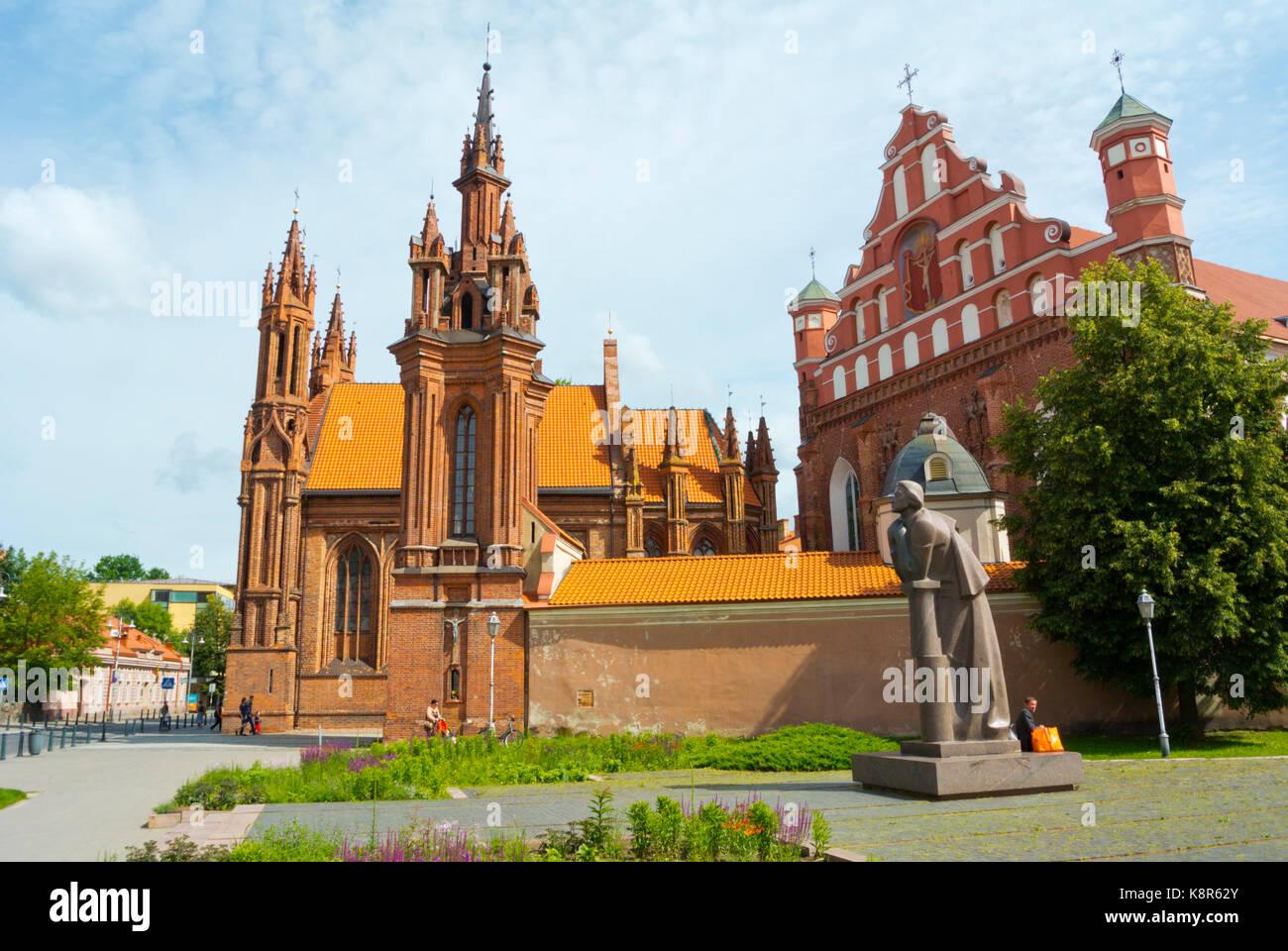 Vilniaus Sv Onos baznycia, Saint Anne's church, Gothic style Catholic church, Vilnius, Lithuania - Stock Image