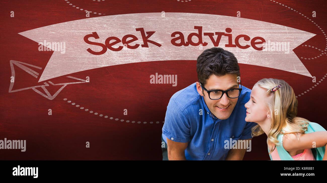 Girl whispering in male teacher ear against seek advice against desk - Stock Image