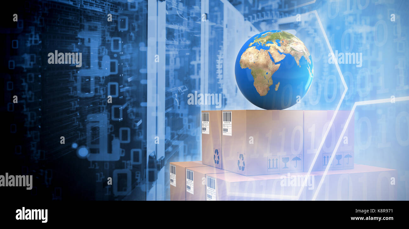 Blue globe on brown cardboard boxes against digital image of hexagon shape with binary numbers on screen - Stock Image
