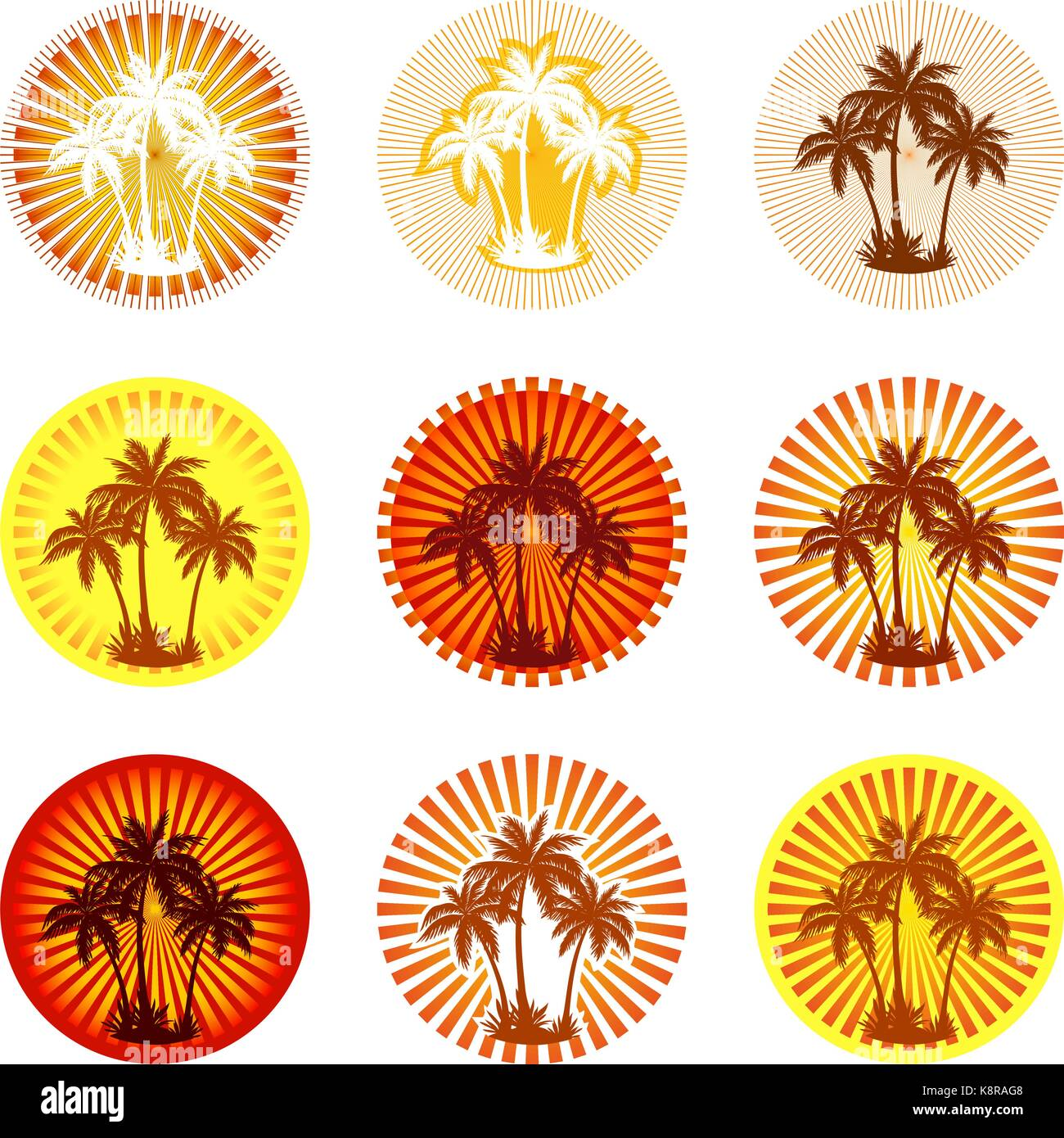 Tropical Landscape with Palms Trees Silhouettes on