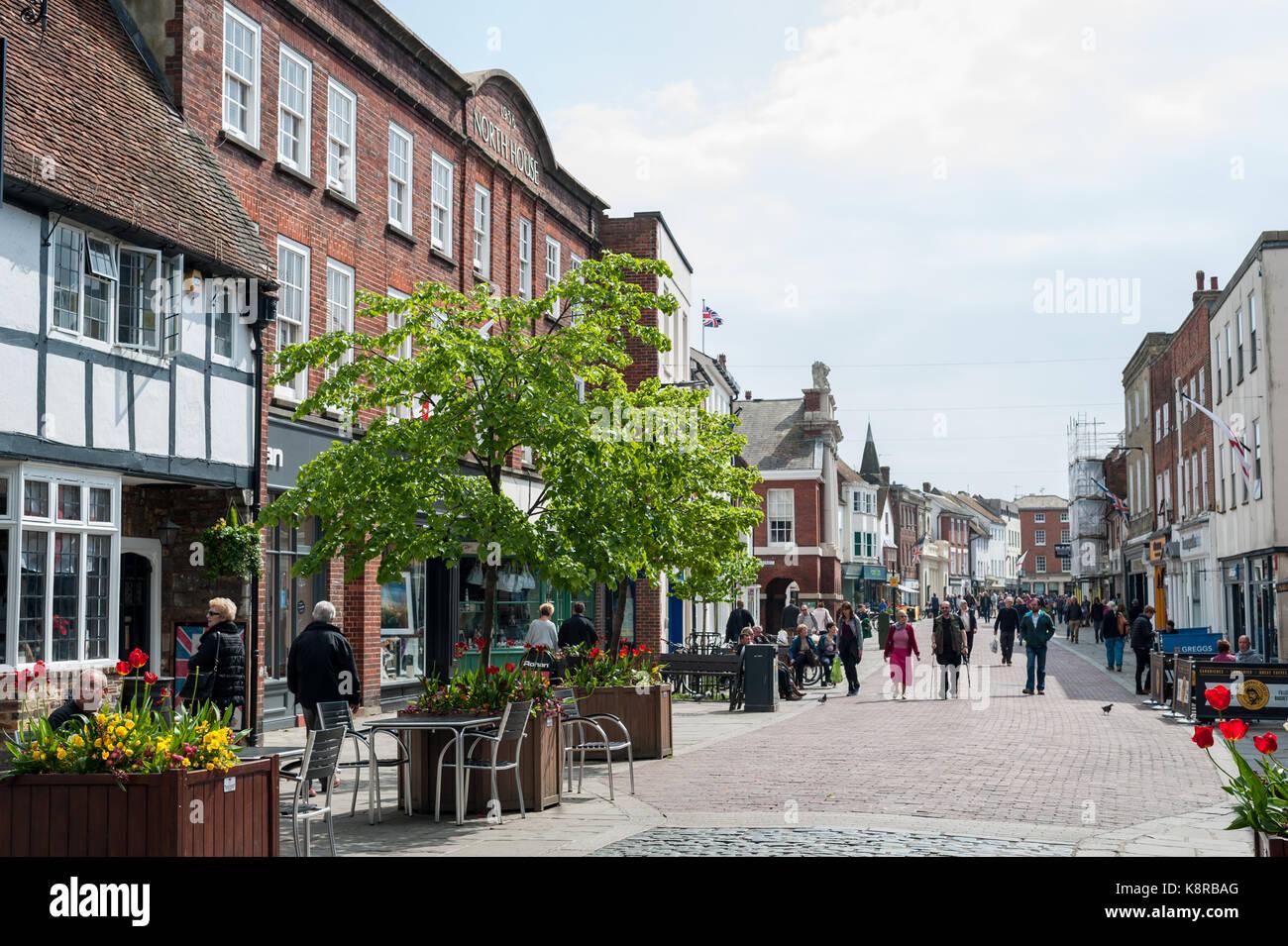 Shopping Street Pedestrian Area Chichester Stock Photos