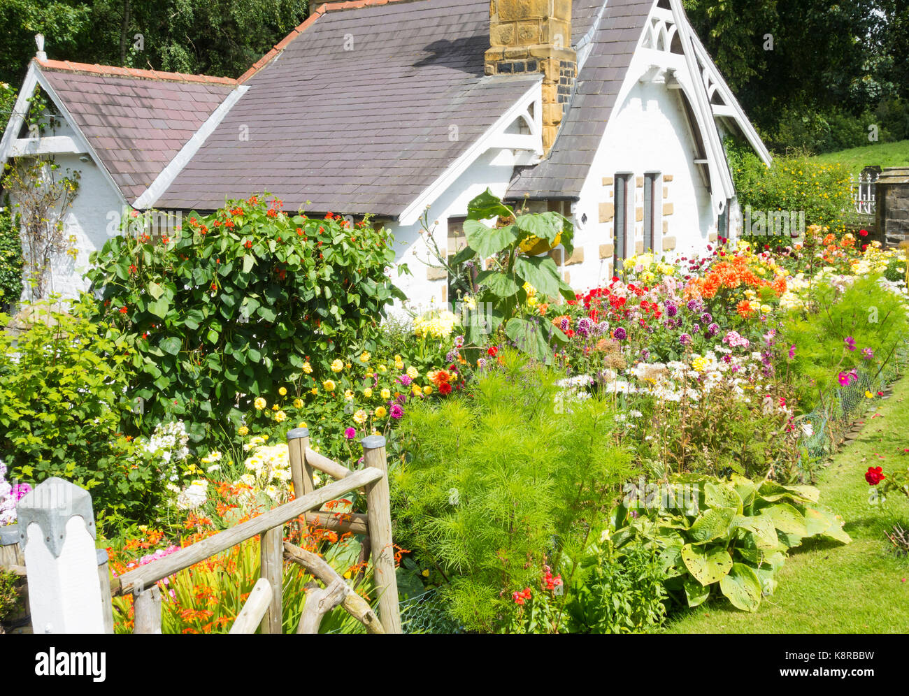 Cottage garden near Great Ayton, North Yorkshire, England. UK - Stock Image