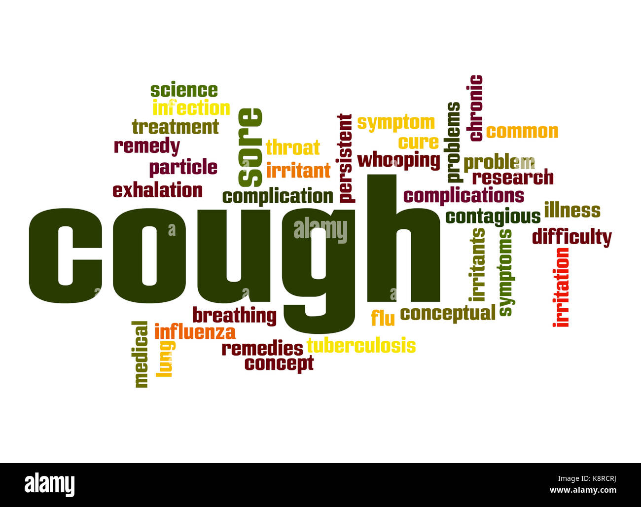 Cough word cloud - Stock Image