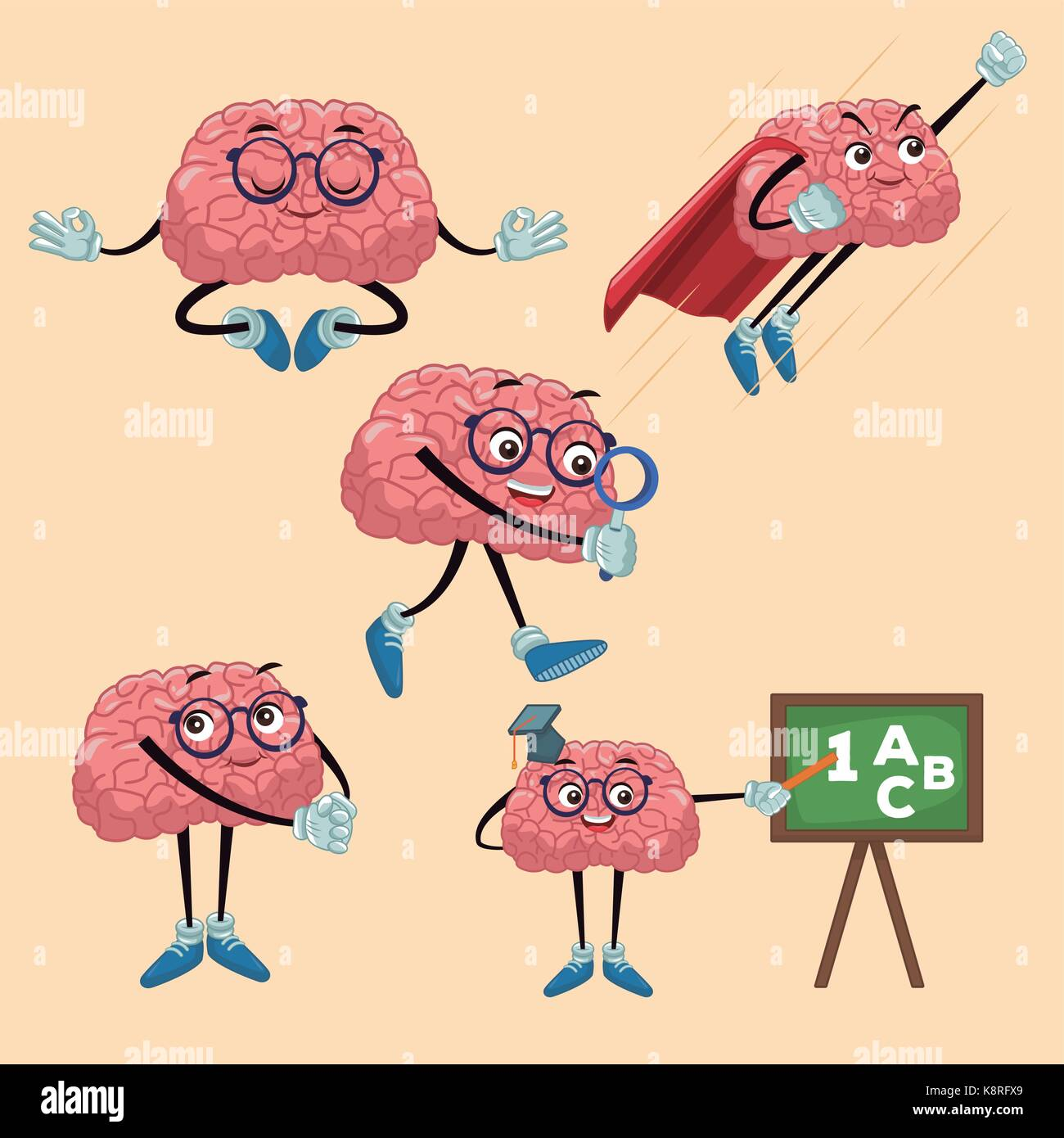 Cute brains cartoons - Stock Image