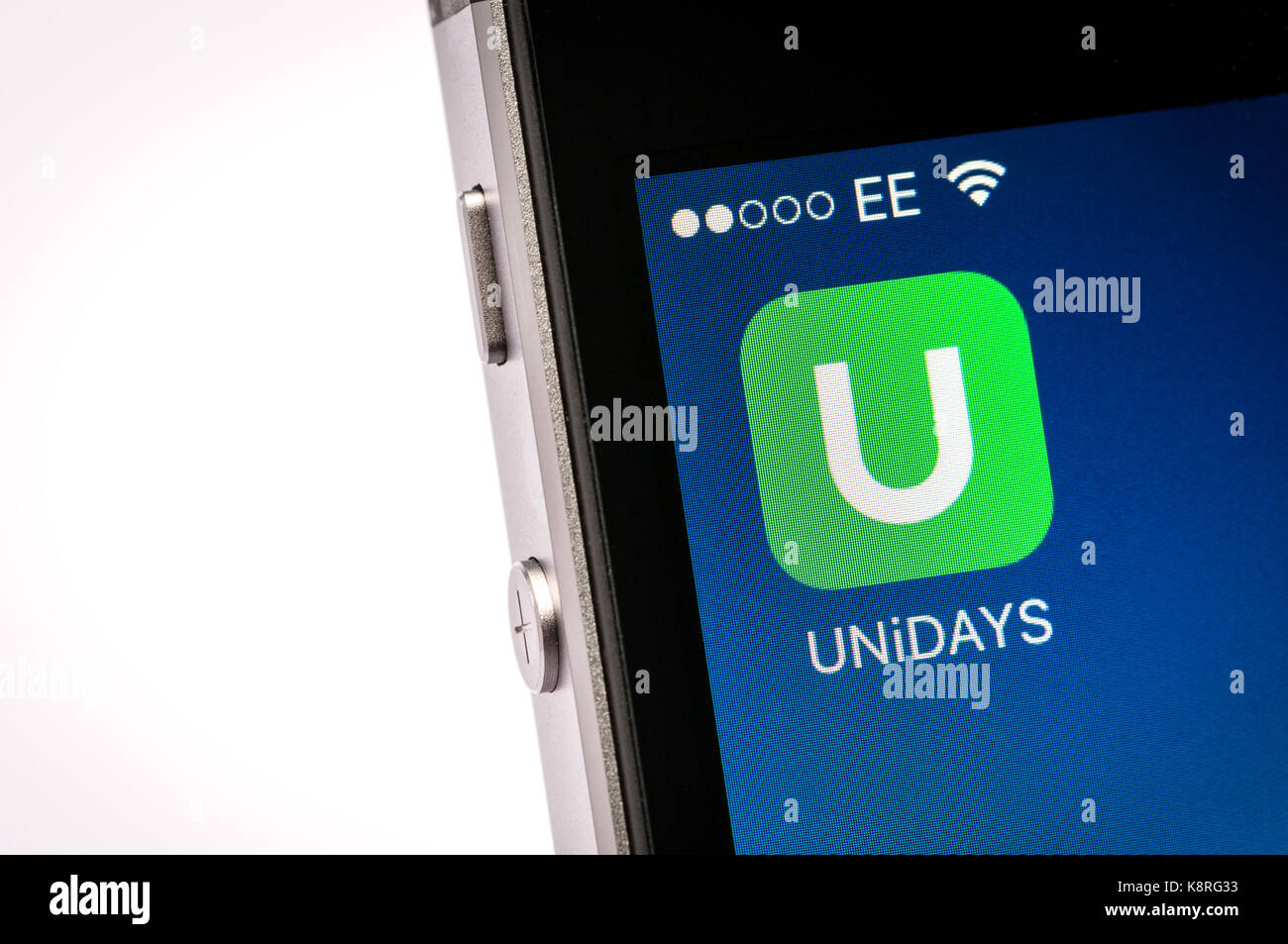 Unidays student discount app on an iPhone mobile phone - Stock Image