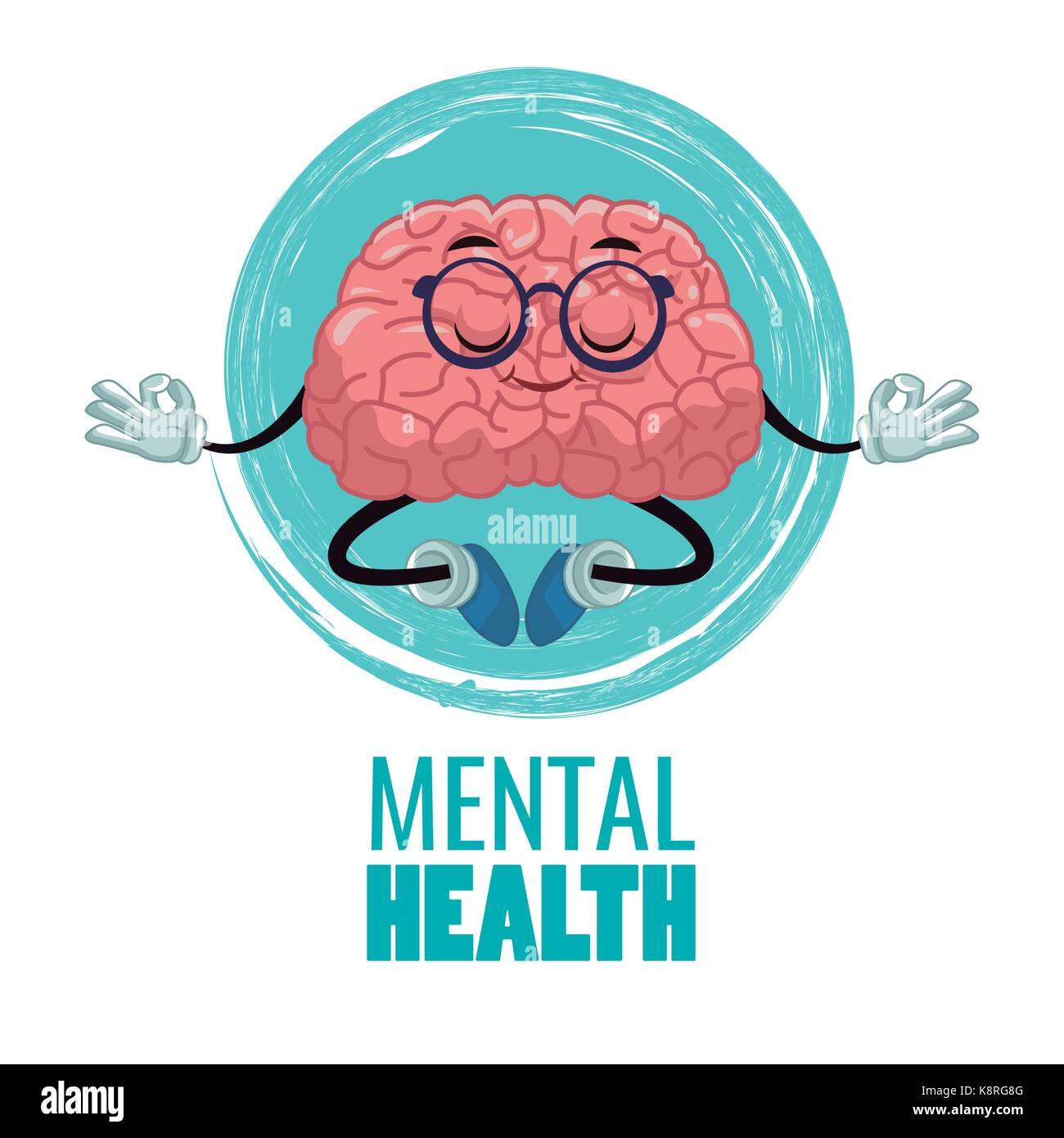 Head silhouette with brain cartoon - Stock Image