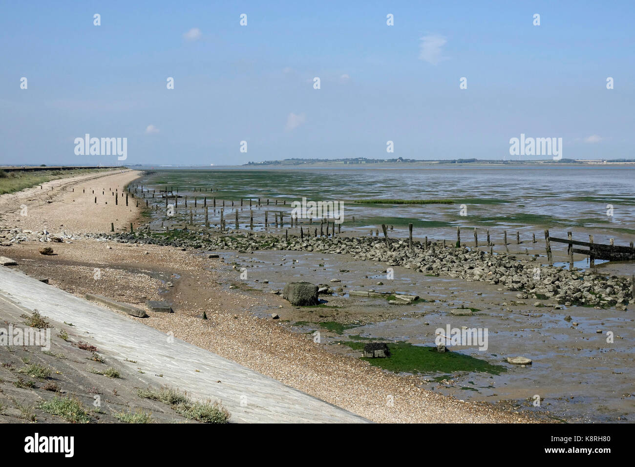 Low tide at South Swale, looking along the sea wall towards the Isle of Sheppy. Kent Wildlife Trust. - Stock Image