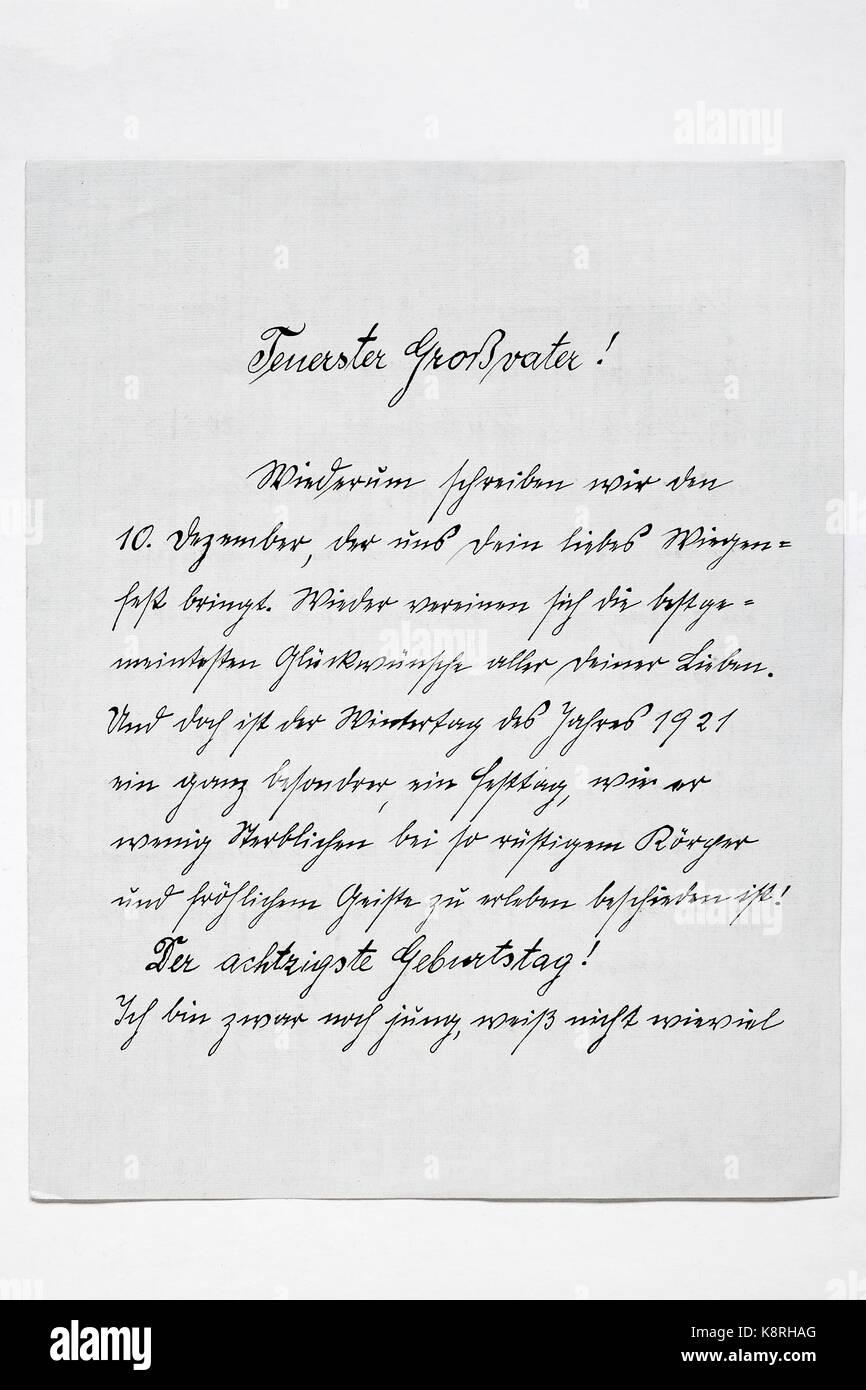 Letter in Sütterlin script from 1921, Germany - Stock Image
