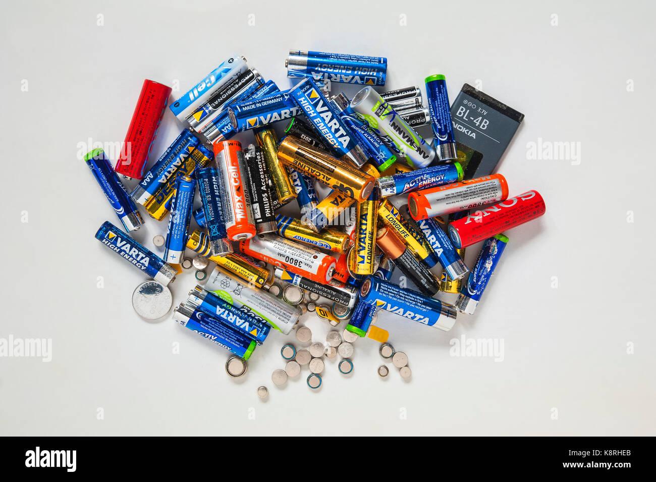 Various batteries and accumulators, Germany - Stock Image