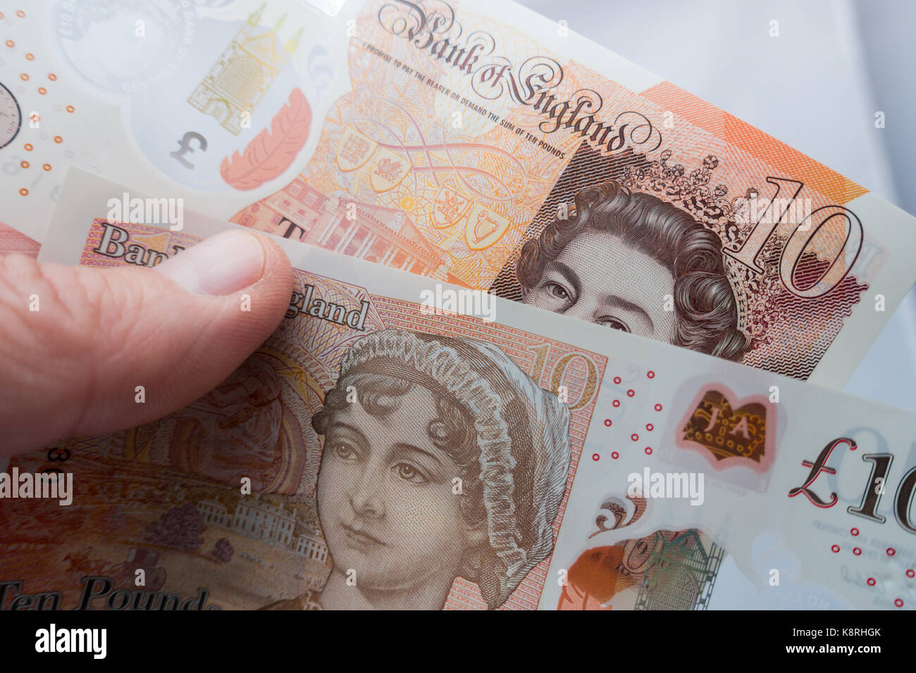 The new 10 pound note a modern Polymer banknote which will decrease environmental impact and cost less to replace, - Stock Image