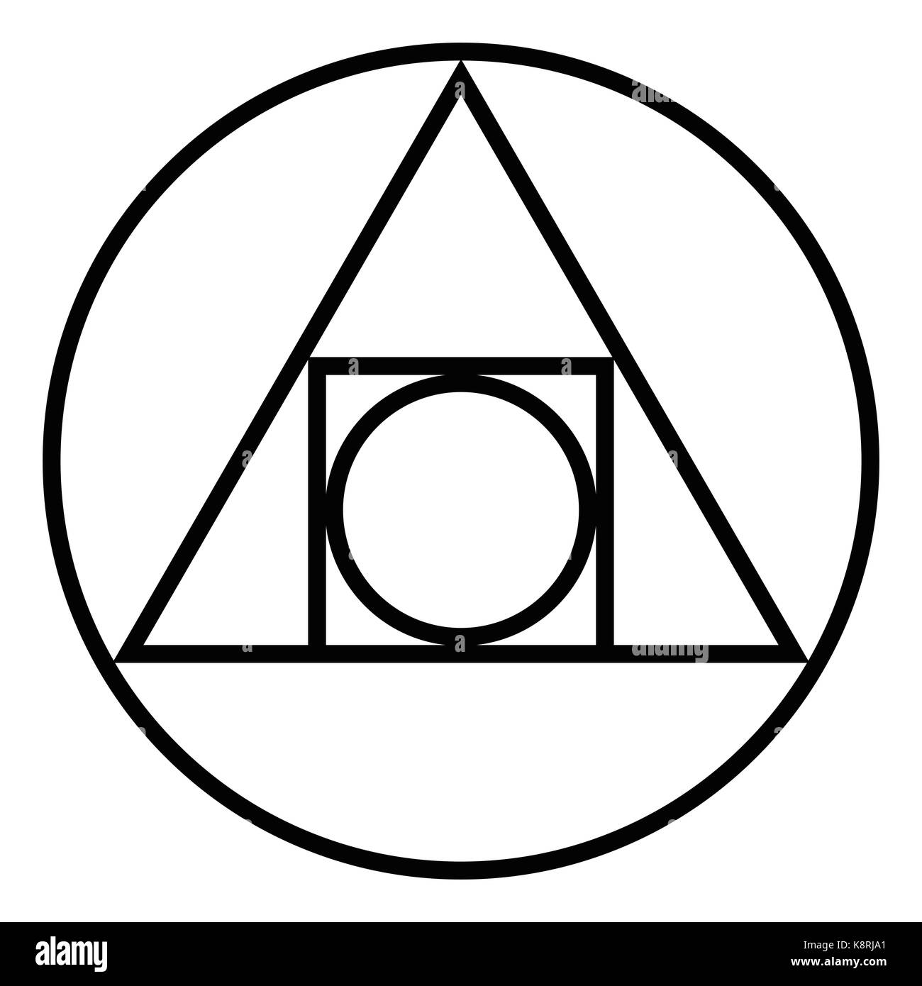 The Squared Circle. Alchemical glyph from seventeenth century. Symbol for creation of philosophers stone and interplay - Stock Image