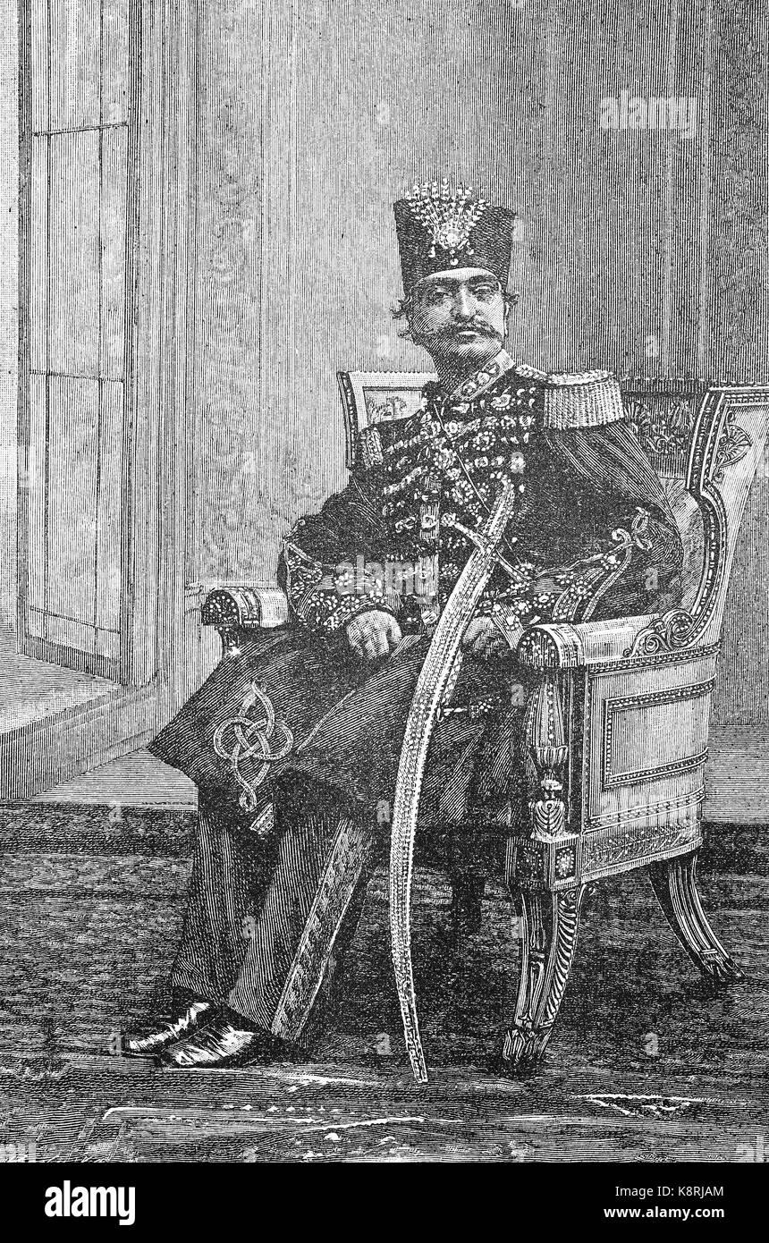Naser al-Din Shah Qajar, also Nassereddin Shah Qajar, was the King of Persia, 1831 - 1896, digital improved reproduction - Stock Image