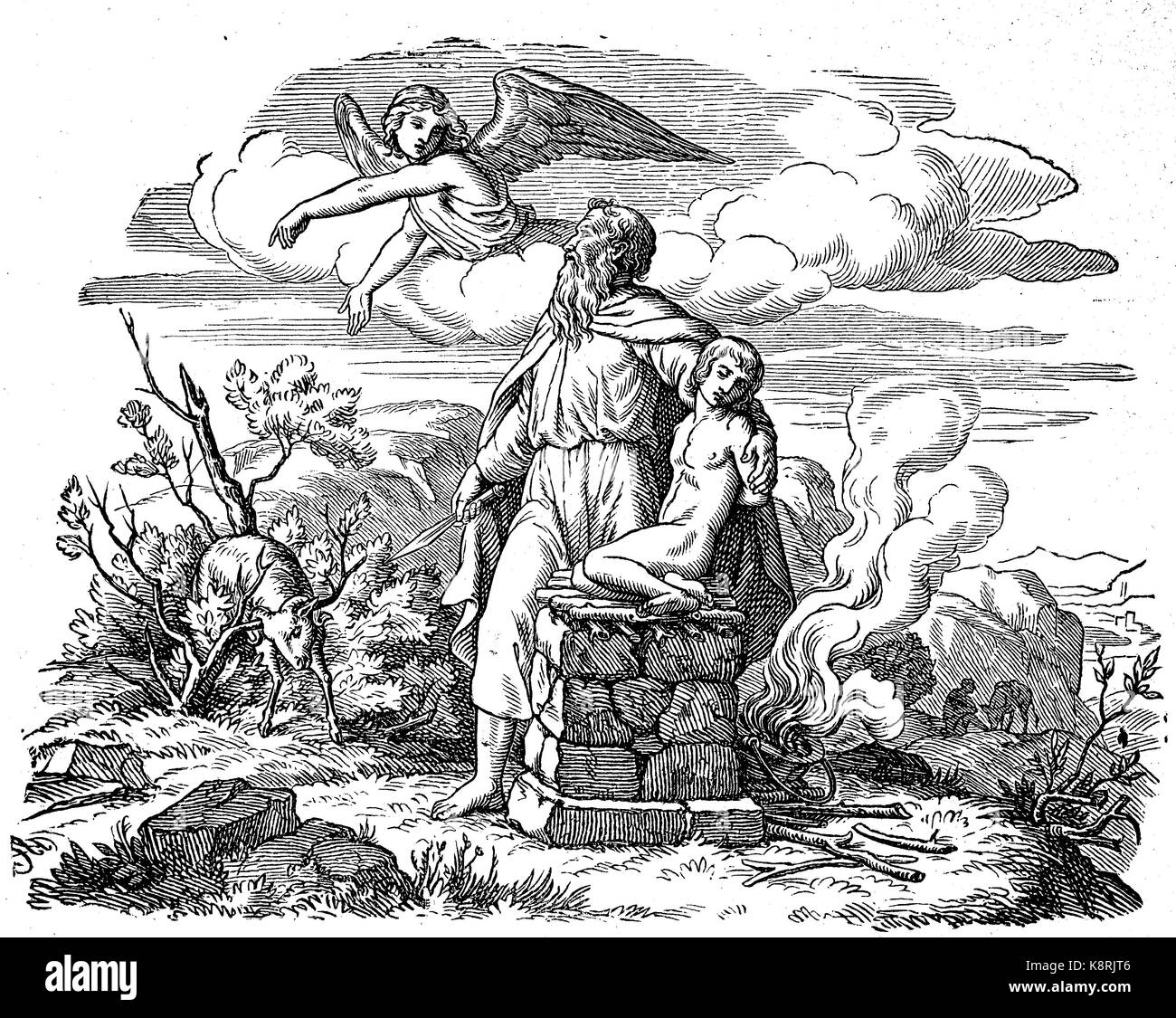Abraham, The Binding of Isaac, also known as The Binding and the Akedah or Aqedah, The Sacrifice of Isaac, digital - Stock Image