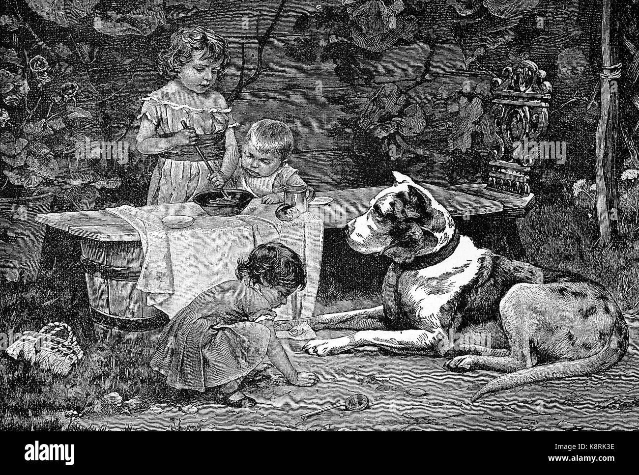 Three children play in the garden, and a big domestic dog is watching, Spielgefährten, drei Kunder spielen - Stock Image