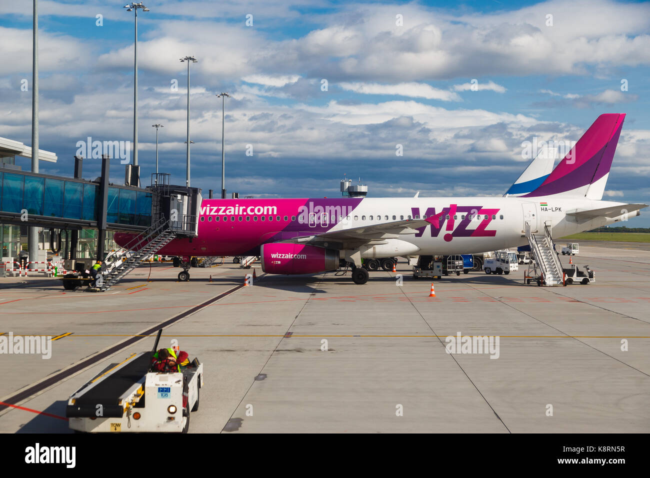 WARSAW, POLAND - SEPTEMBER 9, 2017: low cost airline plane Wizzair on the airstrip at Chopin International Airport - Stock Image