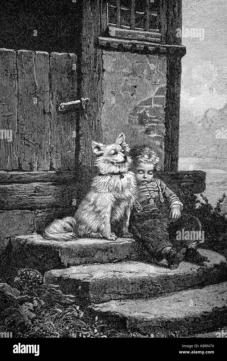 The guardian, dog is guarding the little boy who has fallen asleep on the stairs, Der Wächter, Hund bewacht - Stock Image