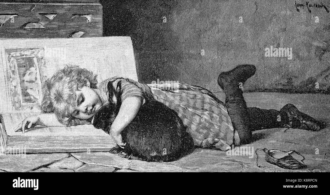 Girl is trying to teach her hare reading, Mädchen versucht ihrem Hasen das Lesen beizubringen, digital improved - Stock Image