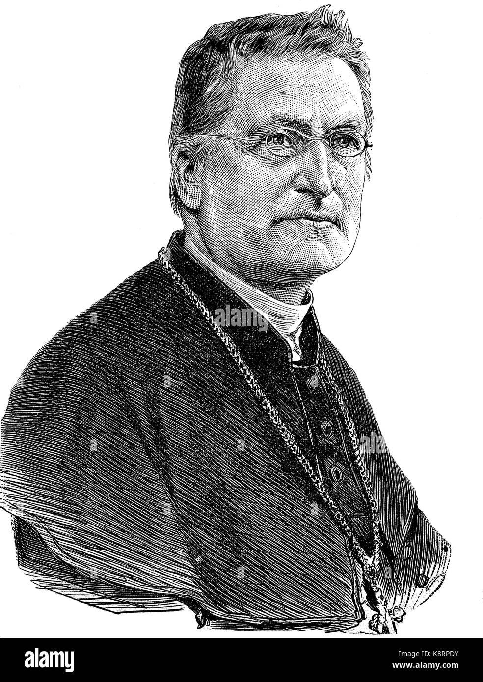 Johannes Christian Roos, 1826 - 1896, a German Roman Catholic clergyman. He was Bishop of Limburg, Germany, digital Stock Photo