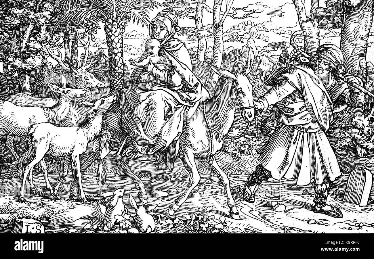 The flight into Egypt is a biblical event described in the Gospel of Matthew, digital improved reproduction of a - Stock Image