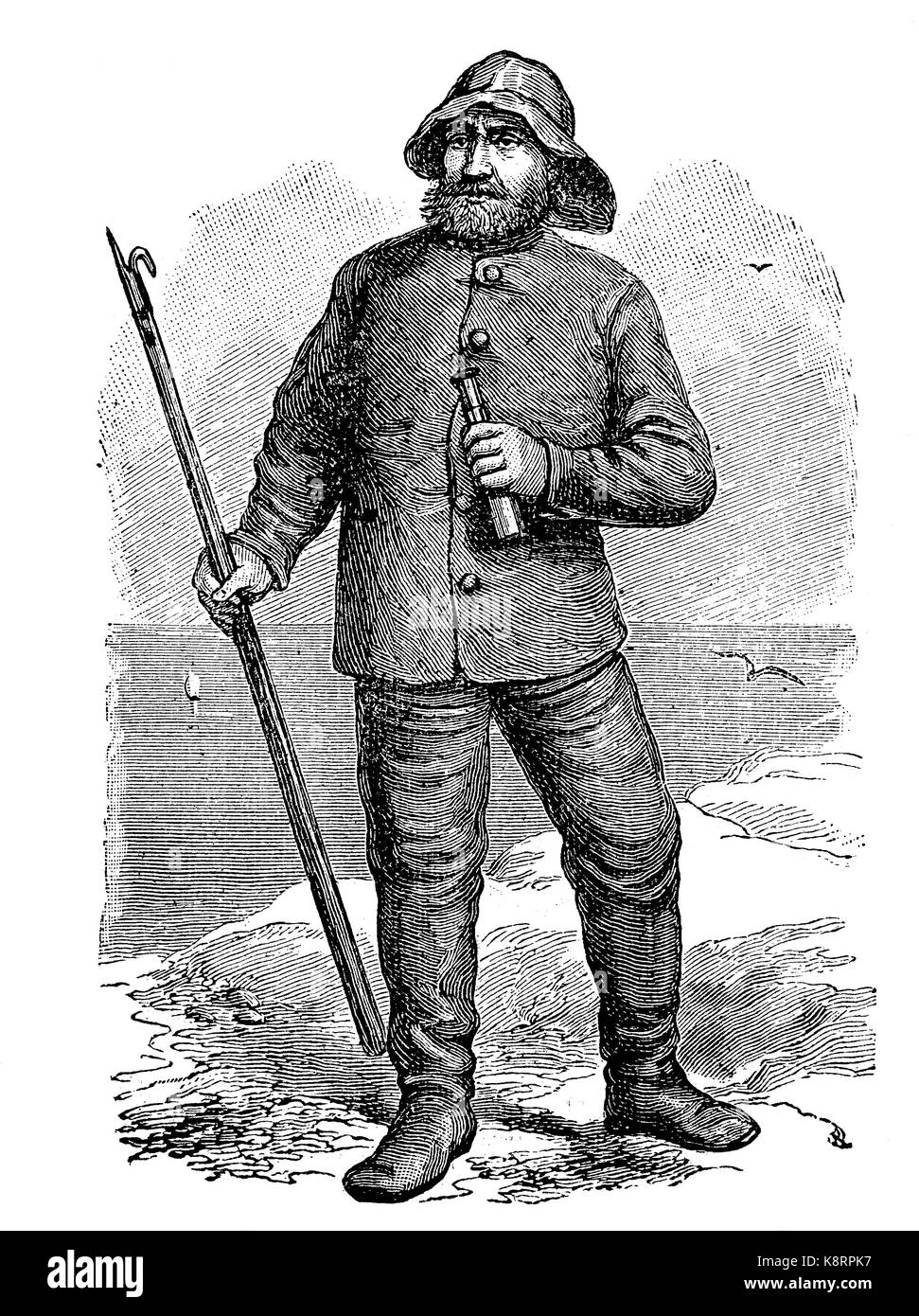 Old fisherman on the island of Sylt, Germany, digital improved reproduction of a woodcut, published in the 19th - Stock Image