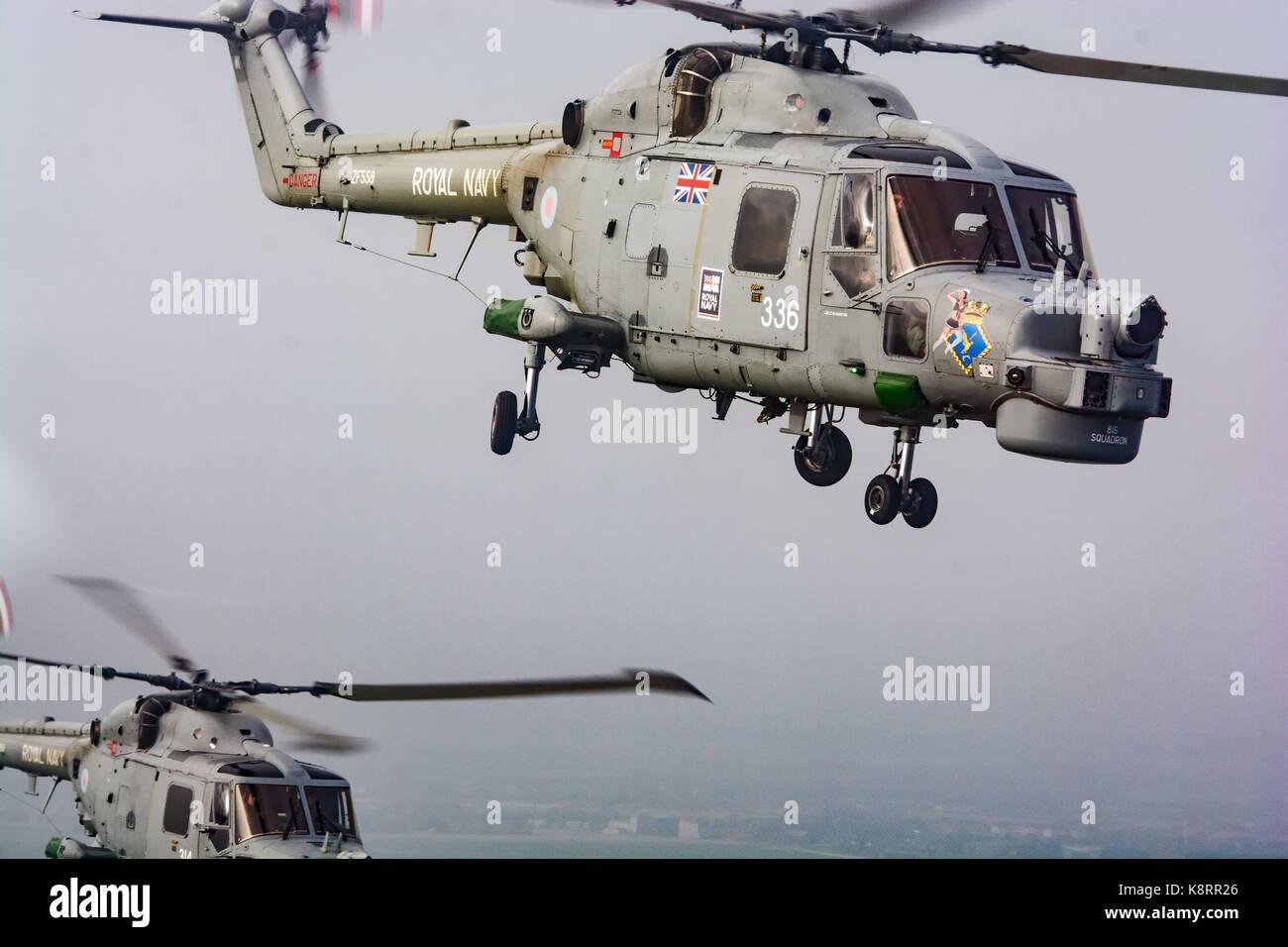 Royal Navy Lynx HMA8 Helicopter Stock Photo