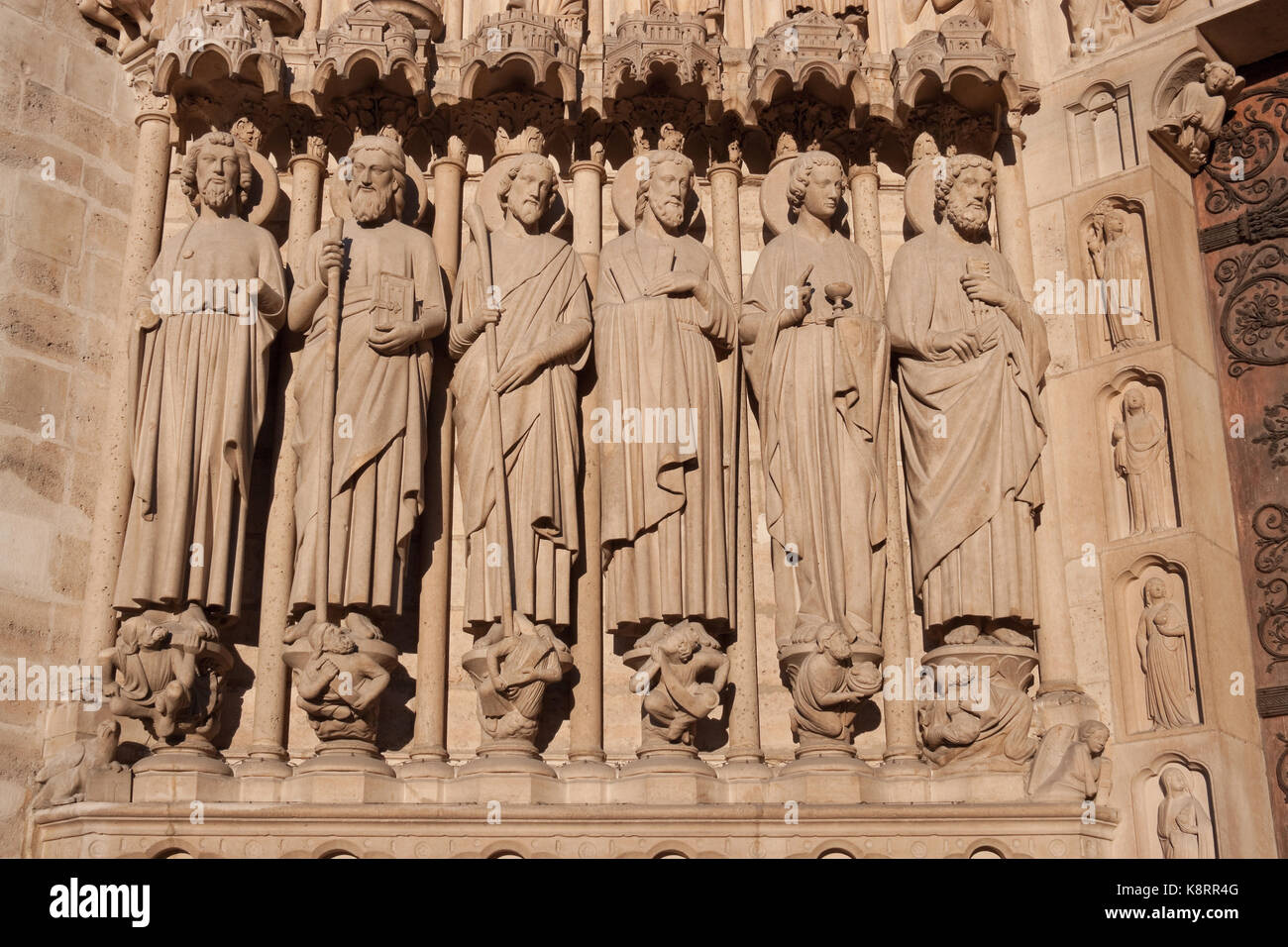 Statues of apostles on the the Portal of the Last Judgement, Notre dame de Paris Stock Photo
