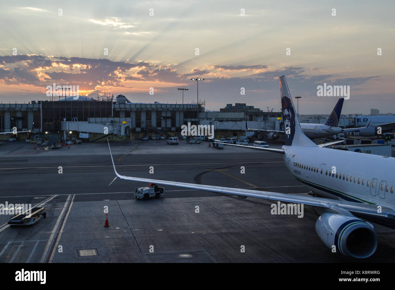Alaska airlines stock photos alaska airlines stock images alamy seattle washington september 06 beautiful sunrise in viewed from the alaska airlines wing buycottarizona Choice Image