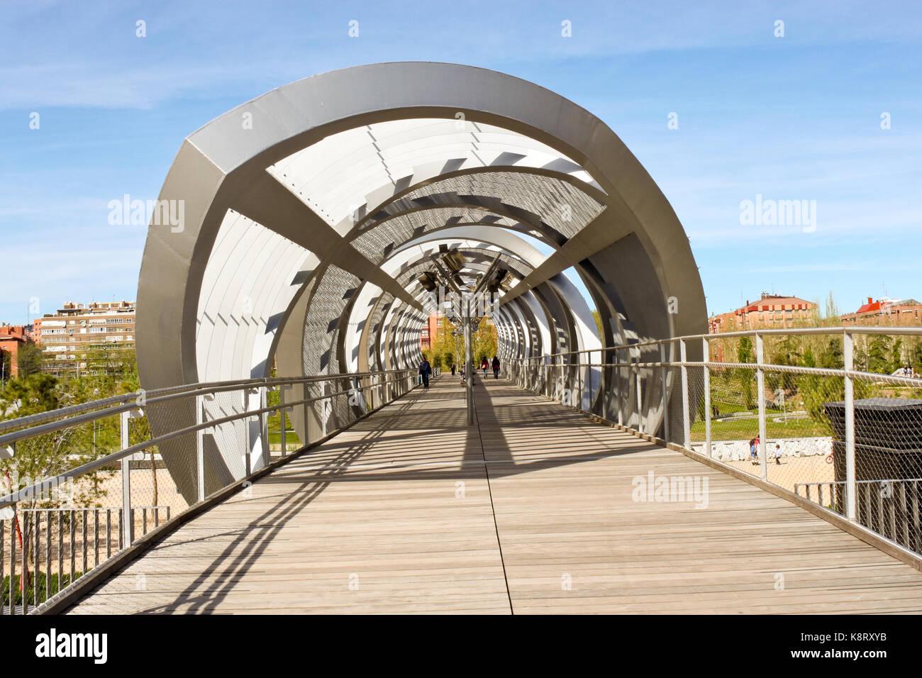 Madrid, Spain - April 20, 2013: Arganzuela Bridge designed by Dominique Perrault. - Stock Image